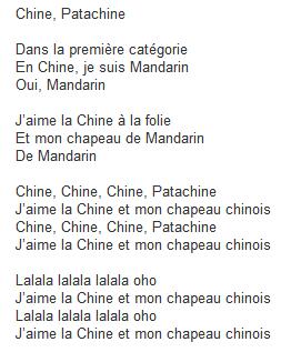 Texte de la chanson Chine et Patachine