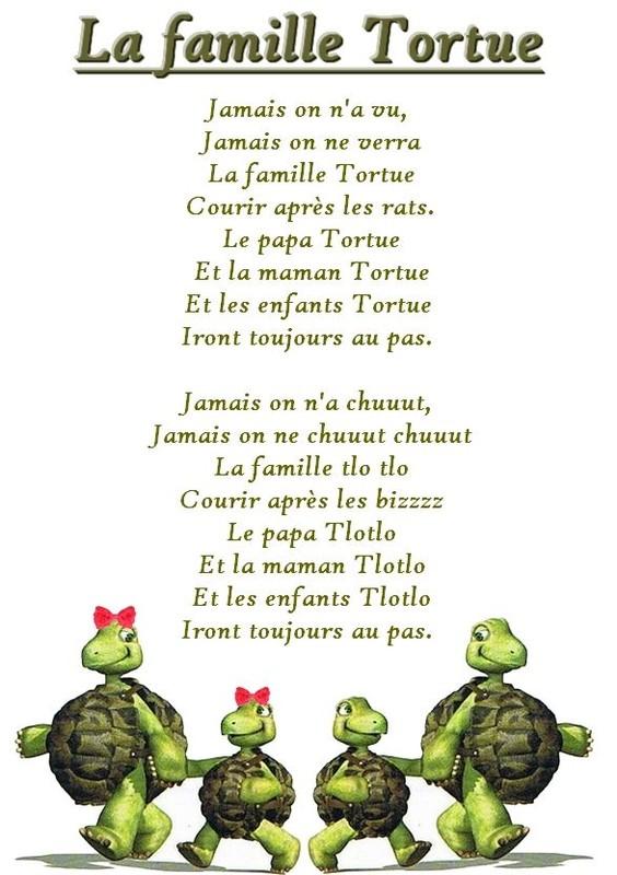 chanson la famille tortue